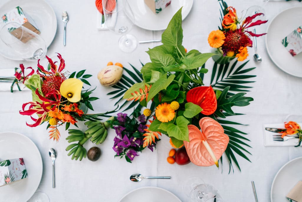 Tischdekoration Hochzeit tropisch tropical Wedding München Hochzeitsplanung