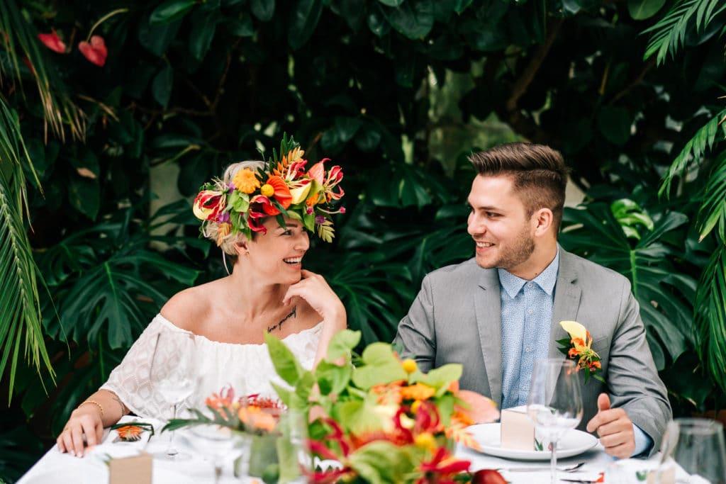 Tischdeko Hochzeit tropisch tropical Wedding München Hochzeitsplanung