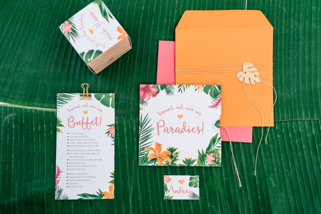 Papeterie Hochzeitseinladung  tropisch München Hochzeitsplanung