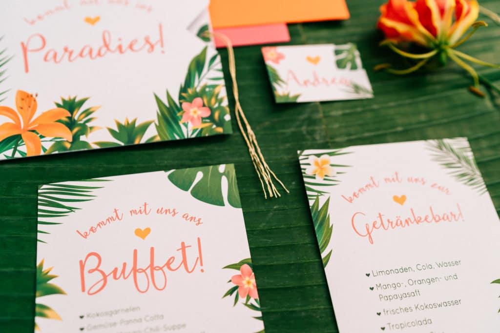 Hochzeit tropisch tropical Wedding München Hochzeitsplanung Hochzeitspapeterie Papeterie Einladung Menükarte