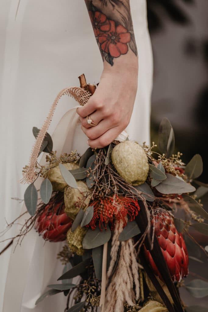 Brautstrauß Braut Boho Protea